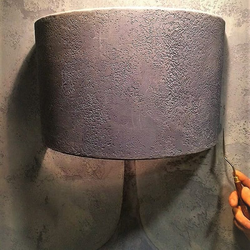The lamp is painted with suede material like walls